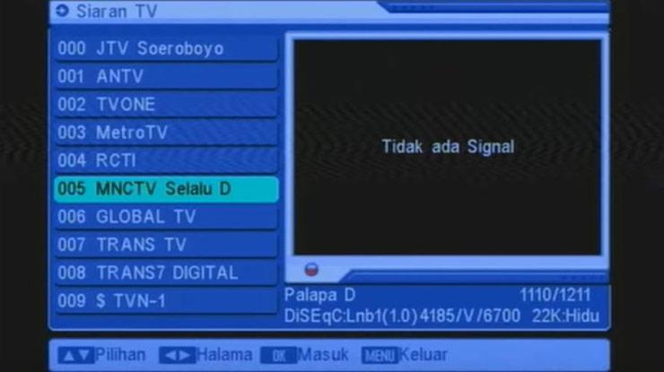 Memprogram TV Parabola Yang Tidak Ada Sinyal