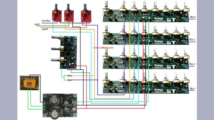 Gambar Diagram Merakit Mixer Audio Sederhana