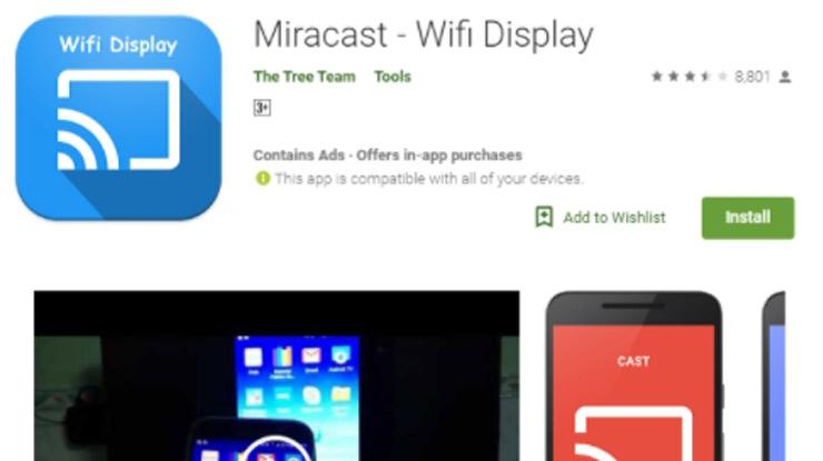 Download dan install aplikasi miracast di Play store