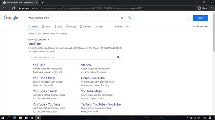 buka situs Youtube