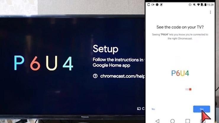 memasukan kode yang muncul pada layar TV melalui aplikasi Google Chromecast untuk proses sinkronisas