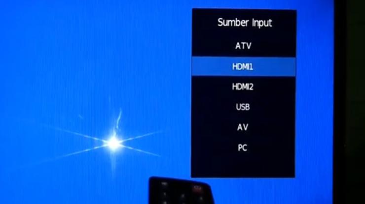 ubah saluran dari TV ke HDMI pada TV