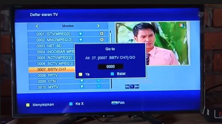 pilih nomor untuk channel yang akan dipindah