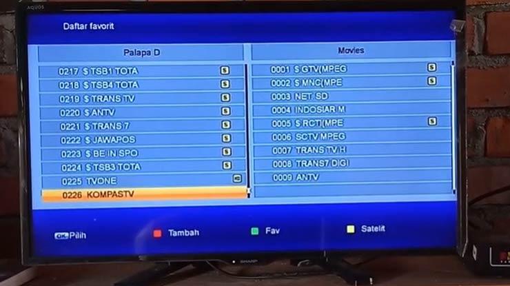 setting nama satelit di posisi All 1