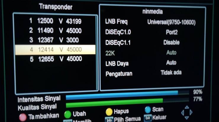 Frekuensi LNB Kedua Transponder 2 Ninmedia