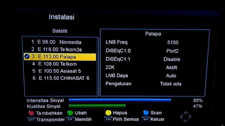 pilih satelit nama satelit