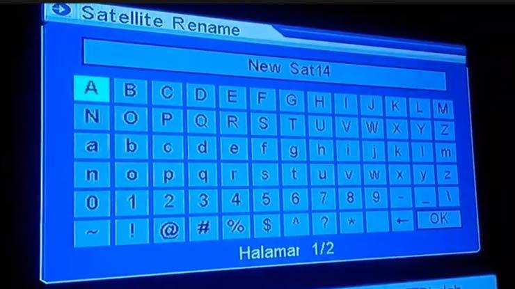 tekan Ok pada remot atau bisa juga tekan 1 untuk memunculkan keyboard