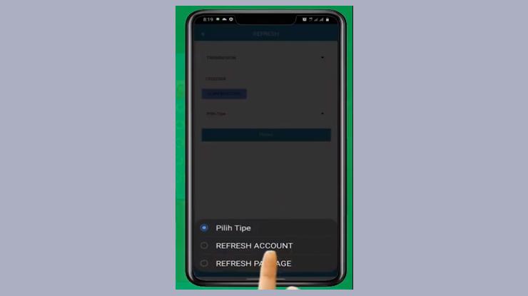 Jika hanya akan refresh receiver saja pilih Refresh Account lalu tekan tombol Proses lalu jika ingin refresh paket yang sudah diaktifkan pilih Refresh Package lalu tekan tombol Proses