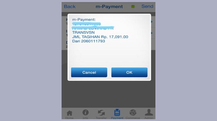 Maka akan muncul konfirmasi pembayaran dan jumlah tagihan lalu klik Ok 1