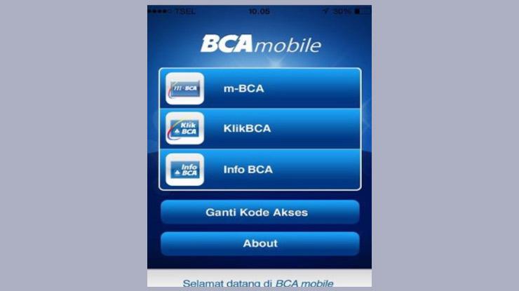 Pilih menu m BCA 1