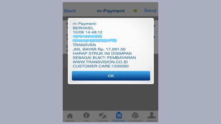 muncul notifikasi m Payment BERHASIL 1