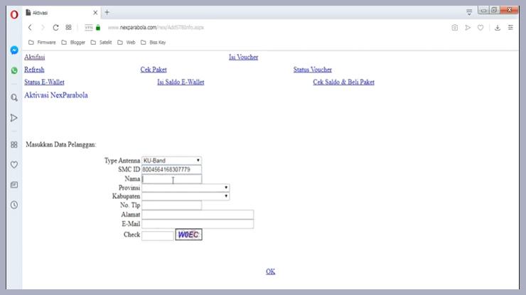 pilih menu aktivasi lalu isi data data yang diminta sesuai kolom yang tersedia