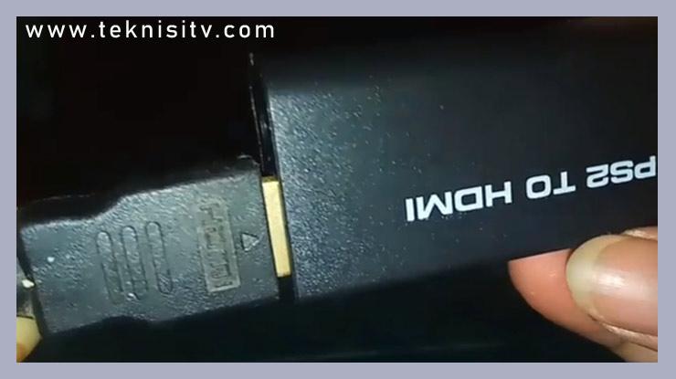 colokan kabel HDMI ke konventer PS2 to HDMI