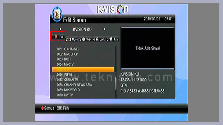 Menghapus Channel TV Pada Parabola